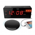 iLuv Jumbo LED Alarm Clock with Wireless Rechargeable Bed Shaker - Black