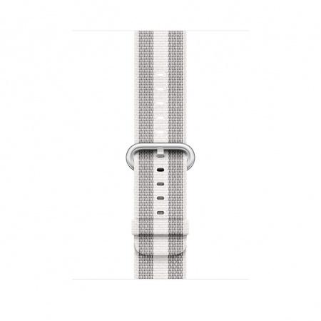 Apple Watch 42mm Band: White Stripe Woven Nylon